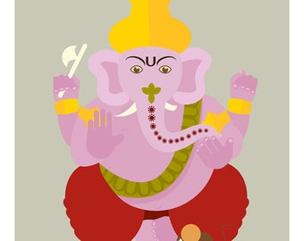 LIMITED EDITION, Indian Art, Contemporary Prints, Ganesh, Indian God, Wall Art, Print 8x10, Home Decor