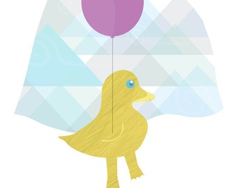 Giclee Wall Art Duck Print 8x10: Balloon Flying yellow Duck, duckie over Mountains