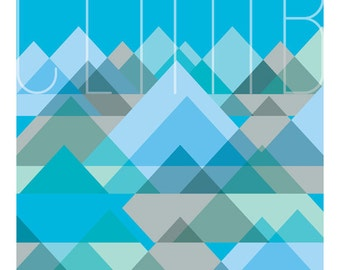 Giclee Wall Art Blue, Mountain Print 8x10, Cubist Series, Home Decor, Wall Print, Giclée
