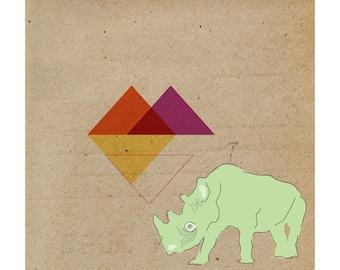 Contemporary Art Print, Rhino Geometric 9x9, Animal Giclée, Home Decor, Wall Print