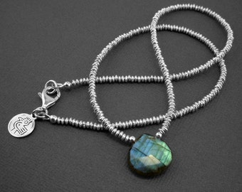 Faceted blue flash labradorite briolette necklace with bright sterling silver beads and sterling silver lobster clasp