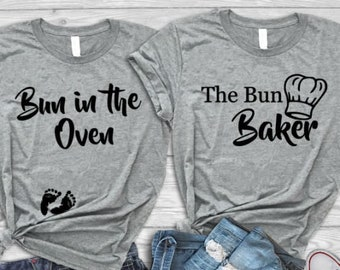 9d4a550389dc1 Pregnancy Announcement Shirts,Bun in the Oven T-shirt, The Bun Baker, Mom to  be Shirt, Dad to be Shirt, Funny Family Matching Shirts