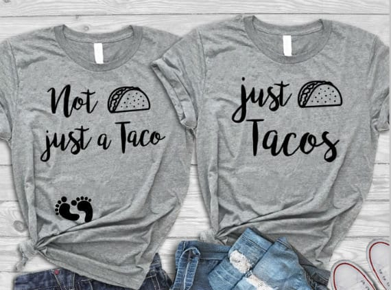 Funny Tacos Pregnancy Reveal T-shirts set New Baby Announcement Tacos Baby