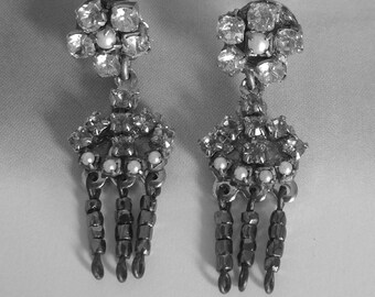 Art Deco Earrings,Crystals Antique Silver Vintage Chandelier Dangle earrings ivory Pearls and Rhinestone 1920's jewelry OOAK evening jewelry