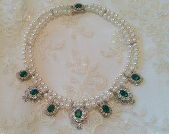 Bridal Necklace Emerald Green Stone Vintage Bridal Pearls Necklace Statement Choker Pearl Wedding Choker Rhinestone Zirconium Pearls Strand