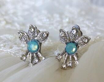 Bridal Silver Earrings,Clipon Rhinestone Earrings,Wedding earrings,Bridal jewelry, Art Deco Wedding jewelry,Bridesmaid earrings,Aquamarine