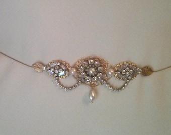 Bridal Belt Wedding Golden Sash Leafs Bridal Rhinestone Flower Sash Swarovski Crystals Belt Vintage Style Bridal Sash Wedding Dress Belt