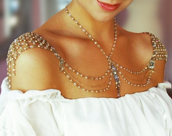 Necklace For The Shoulders,Backdrop Necklace,Bridal Jewelry,Wedding Jewelry,1920s,Beaded Pearls,Rhinestone,Antique Gold,OOAK,Made To ORDER