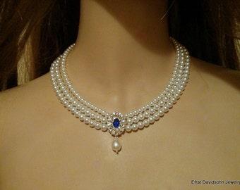 Sapphire Necklace Wedding Pearl Bridal Choker Pearl Rhinestone Something Blue Sapphire Stone Multi Row Vintage Jewelry Lady D Necklace OOAK