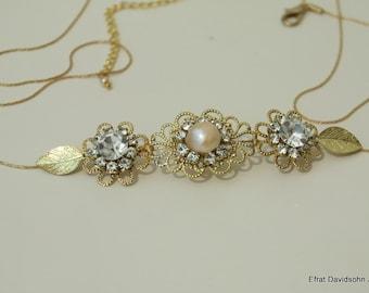 Bridal Belt Wedding Gold Sash Leafs Bridal Rhinestone Flower Sash Swarovski Crystals Belt Vintage Style Bridal Sash Wedding Hip Belt Flowers
