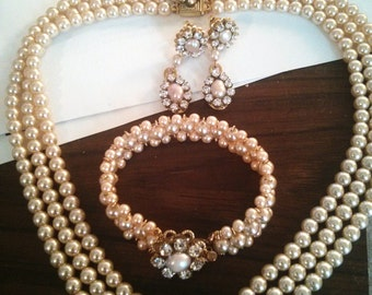 Bridal Jewelry Set Bridal Pearl, Necklace choker Bracelet and Earrings,Blush Pink Pearl Crystal  Vintage Rose Swarovski crystals Wedding Set