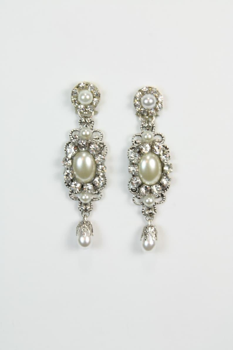 Pendientes Colgantes de Gota Lágrima Diamante Nupcial y opción de Clip Perlas de Imitación
