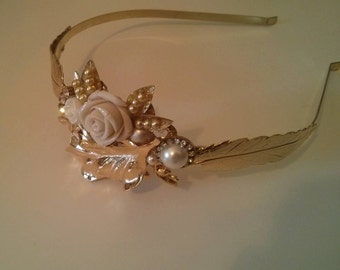 Bridal  vintage Headband Golden Tiara wedding hair piece floral hair piece leafs crown leaves headband tiara leafs bridal headpiece forehead
