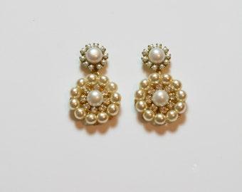 Bridal Pearls Earrings Silver Rhinestone Bridal flower Vintage earrings Golden Ivory Cream Pearls Victorian Crystals Wedding Earrings OOAK