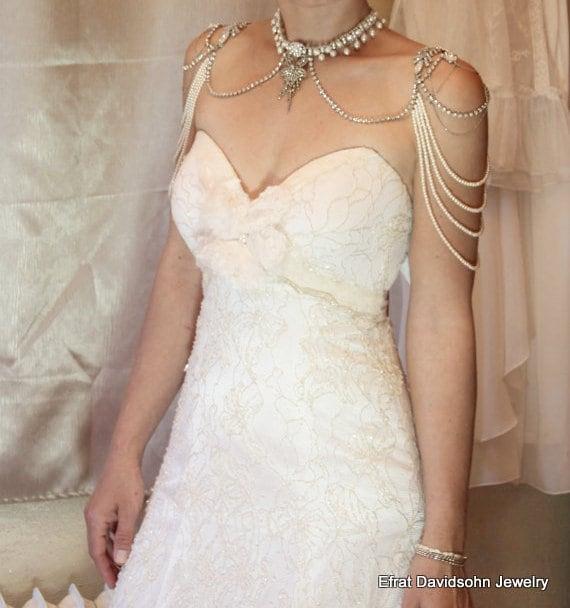 Braut Halskette für die Schultern Perlen und Strass 1920er