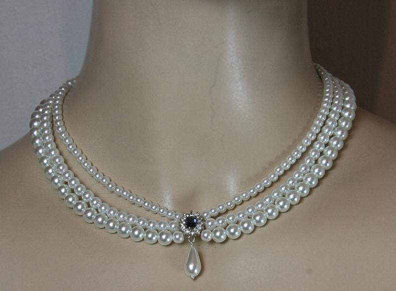 08e12675a596a Wedding Set Necklace And Earrings Bridal Set Choker Pearl Drop Earrings  Rhinestone Something Blue Sapphire Stone Wedding Necklace Multi Row