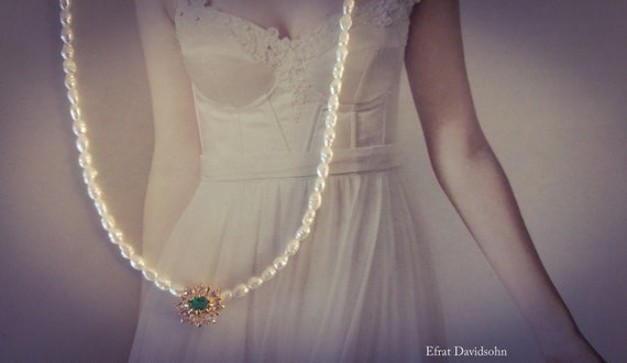 Bridal Pearl Necklaceemerald Stonegreen Emerald Etsy
