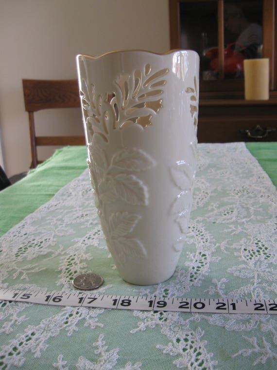 Vintage Lenox Vase With Embossed Leaves Cut Out Flowers Gold Etsy
