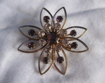 Vintage Flower Pin Brooch Amethyst and Clear Stones
