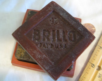 Vintage Brillo Soap Cakes With Tray and Brillo Pad Pin Holder, Rare - Free Shipping