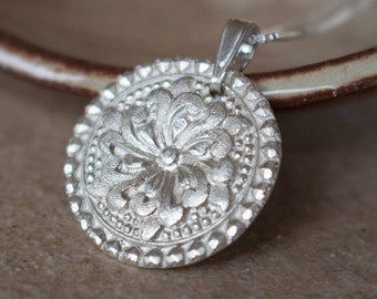 PMC pendant medallion , Flower Silver Pendant , Pure silver flower pendant , Flower necklace , Fine Silver .999 Silver Made to order