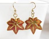 Maple Leaf Earrings , Leaf Earrings , Cloisonné Earrings Maple leaf Goldtone