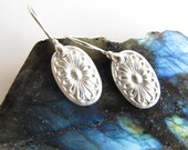 PMC Earrings Fine Silver , Pure silver Textured Silver