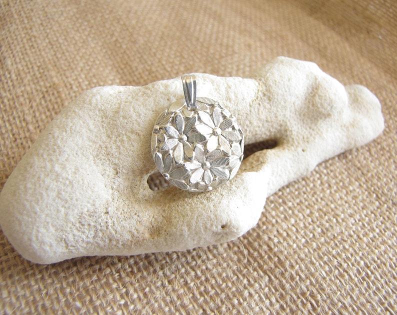 Silver Daisy Pendant  Flower Pendant  Fine silver  Pure image 0