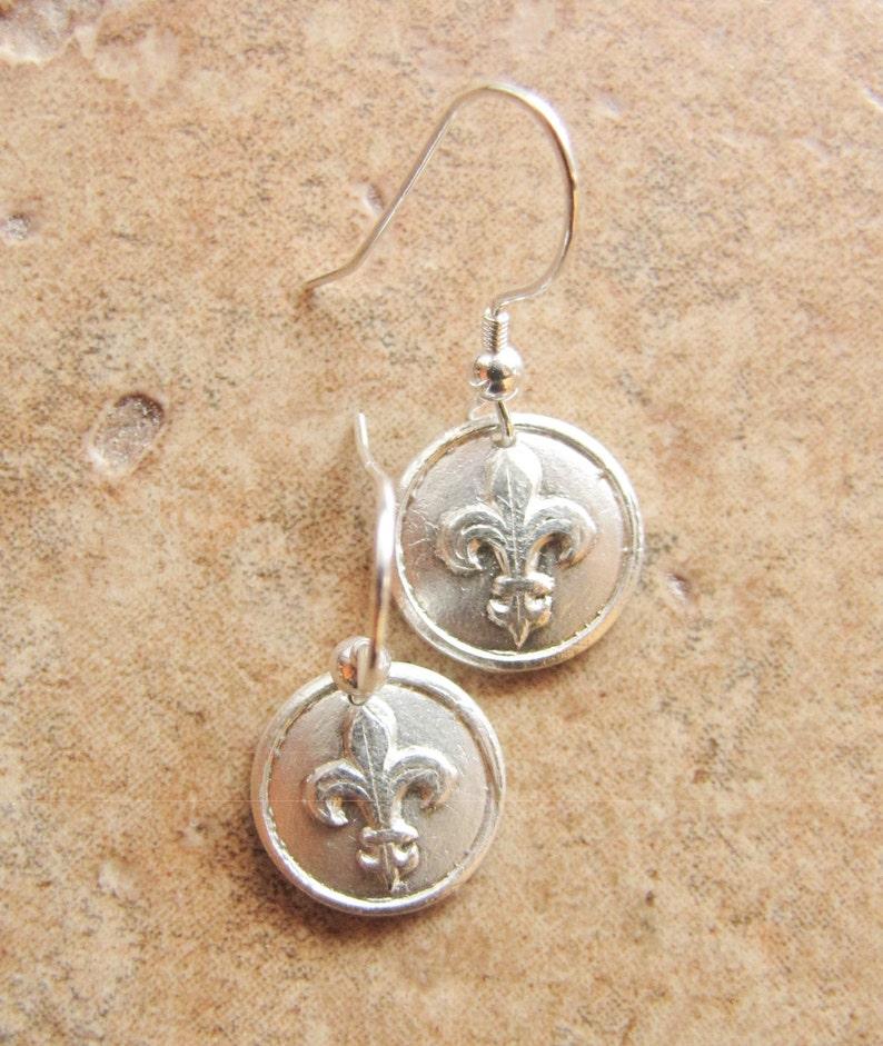 Fleur De Lis Earrings Pure silver PMC Fine Silver image 0