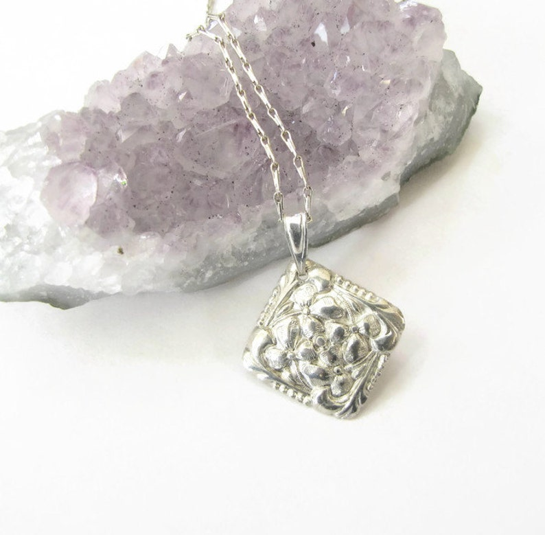 Flower Silver Necklace  Pure silver Shamrock pendant  Flower image 0
