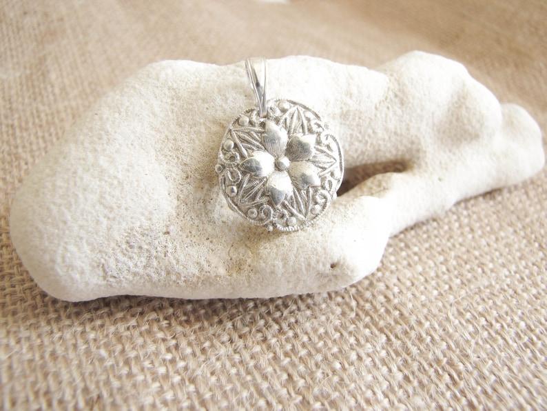 Silver Flower Pendant  Fine silver  Floral pendant  Flower image 0