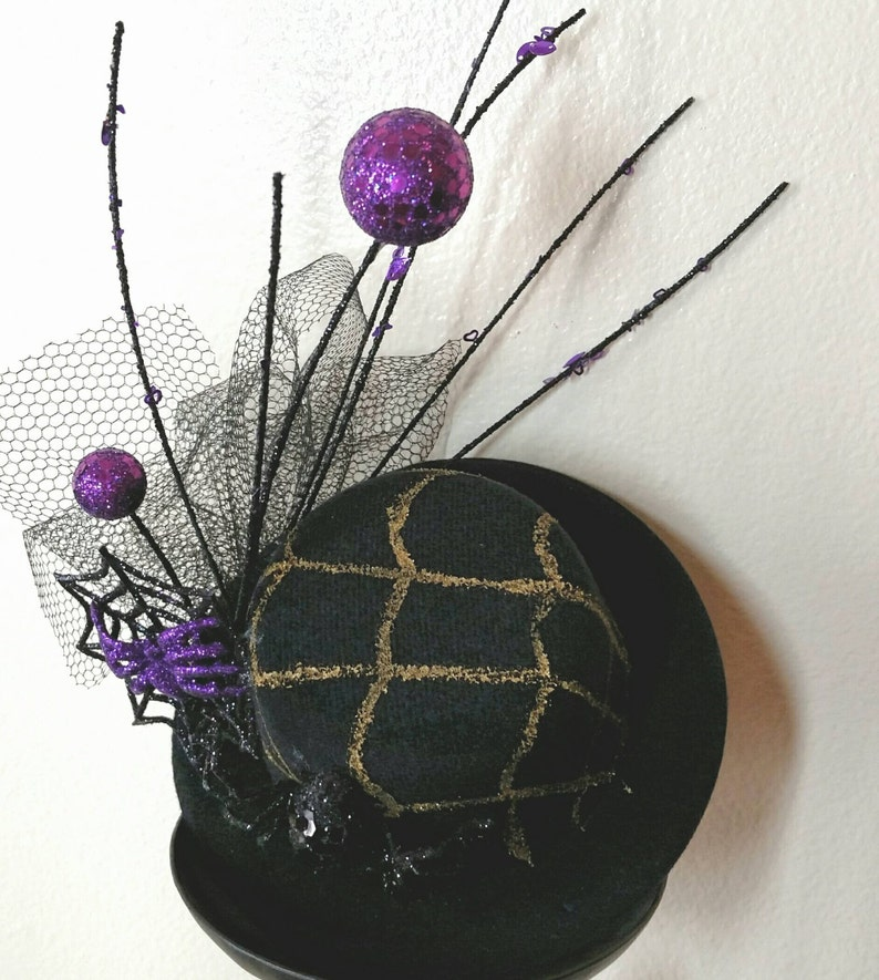 fd1149e31cb3d Widow Maker Halloween Mini Top Hat Fascinator