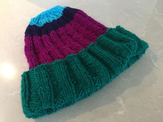 ec1ba282975 Striped hat knit striped beanie wool stash buster hat knit