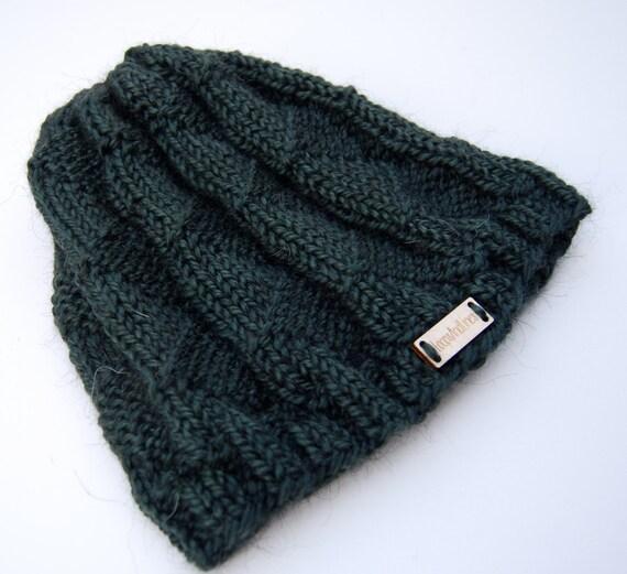 82e62b08355 Knit green alpaca hat forest green hat hand knit hat dark