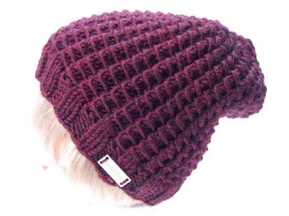 7010bc6d9b8 Hand knit hat burgundy hat hand knit beanie maroon hat