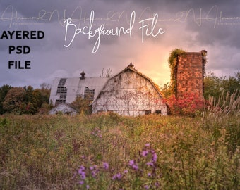 Barn Layered PSD background AND JPEG Fall background baby backdrop baby background country background wedding background barn print