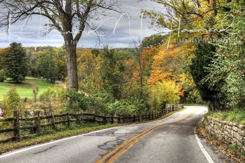 Fall digital background with country road fall path background image 0