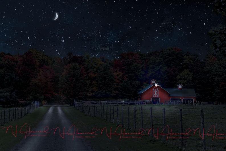 Barn digital background digital Fall background night image 0