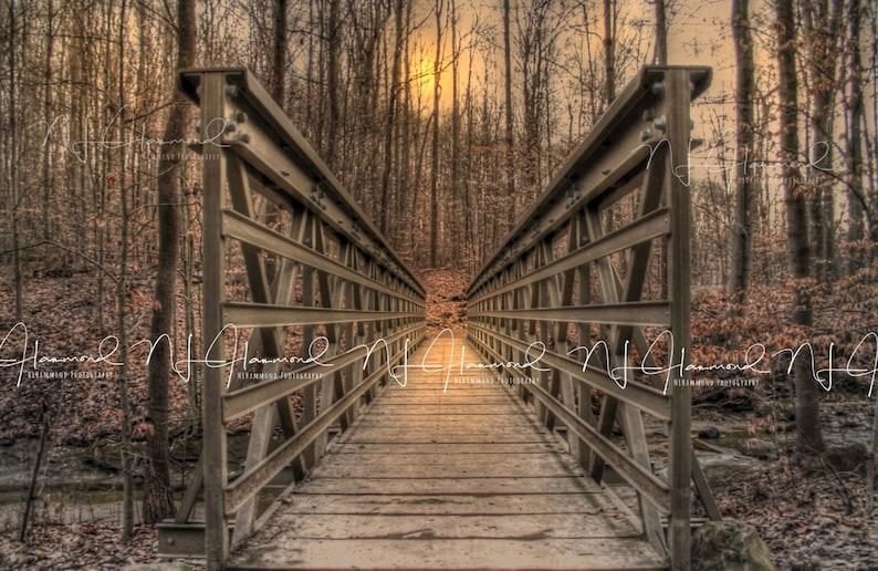 Fall bridge digital backdrop bridge print printable art bridge image 0