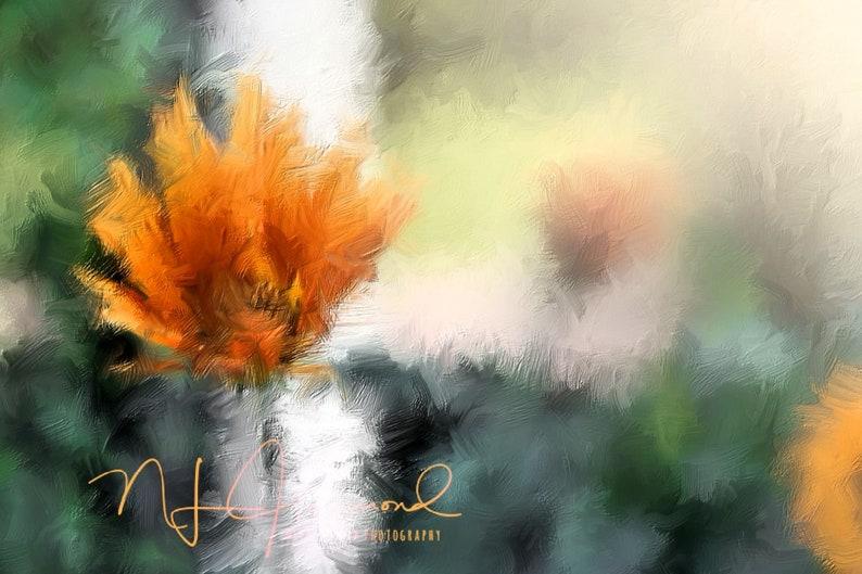 Burnt Orange Floral Print flower print Oil Painting Print Fine image 0