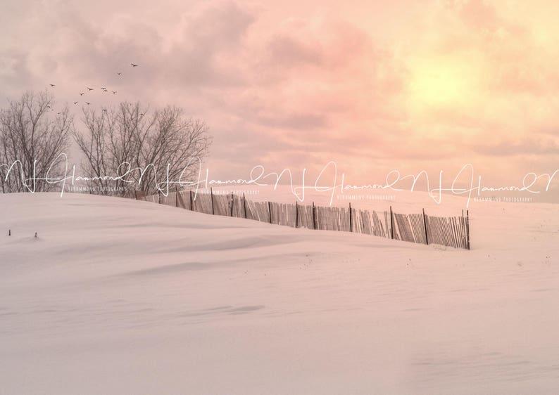 Winter digital backdrop with fence digital print Christmas image 0