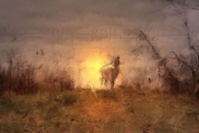 Deer Elk Oil Painting Print Fine Art Print Digital Painting image 0