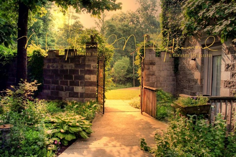 fall digital background stone wall path background gate image 0