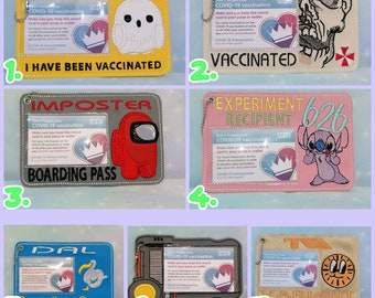 Gaming / Film inspired Vaccine or ID Holder, choose your design, choose your colour.