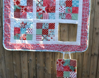 Modern Quilt Whimsical Art Wall Hanging Cottage Chic Shabby Decor Aqua And Red Country Kitch Retro Small Quilts