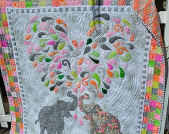 Handmade Elephant Quilt Paisley Splash Funky Checkerboard Whimsical Cottage Chic Modern Hippie Hip Hop Hipster Fantasy Lap