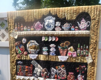 Handmade Appliqued Quilted Wall Hanging Art Quilt Bookcase Bookshelf Canning Jar Bug Raw Edge Applique
