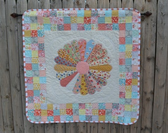 Handmade Quilted Wall Hanging Art Quilt Retro Vintage Look Table Topper Cottage Chic Fabrics Dresden Plate Decor