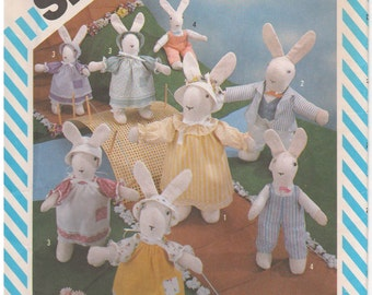 1983 - Simplicity 6312 Vintage Sewing Pattern Easter Bunny Rabbits Wardrobe Clothes Stuffed Animal Doll Decoration Uncut Toy Soft