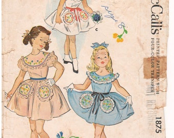 1954 - McCalls 1875 Vintage Sewing Pattern Girls Size 8 Party Dress Puff Sleeve Sleeveless Gathered Skirt Missing Please Read Description